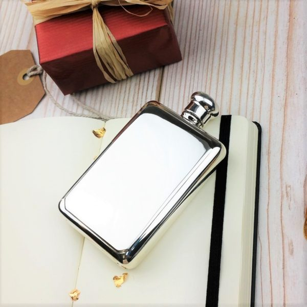 Personalised Sterling Silver Rectangular Hip Flask