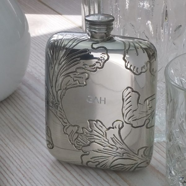 Personalised Bride's Leaf Hip Flask