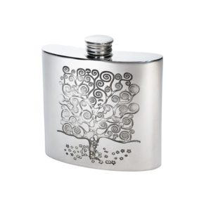 Personalised 4 oz Tree of Life Tree Pewter Kidney Flask