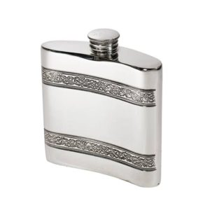 Personalised 4 oz Horizontal Celtic Bands Pewter Kidney Hip Flask