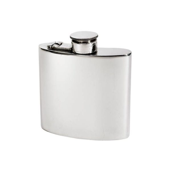 Personalised 4 oz Plain Pewter Kidney Hip Flask with Captive Top