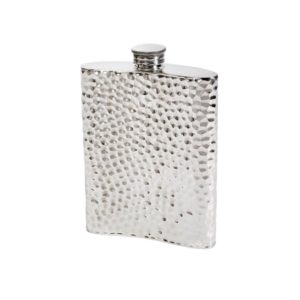 Personalised 6 oz Hammered Pewter Kidney Hip Flask