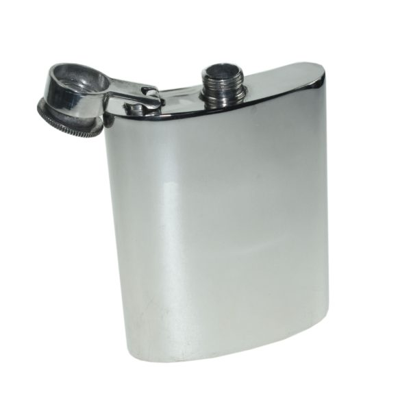 Personalised 6 oz Plain Pewter Kidney Hip Flask with Captive Top