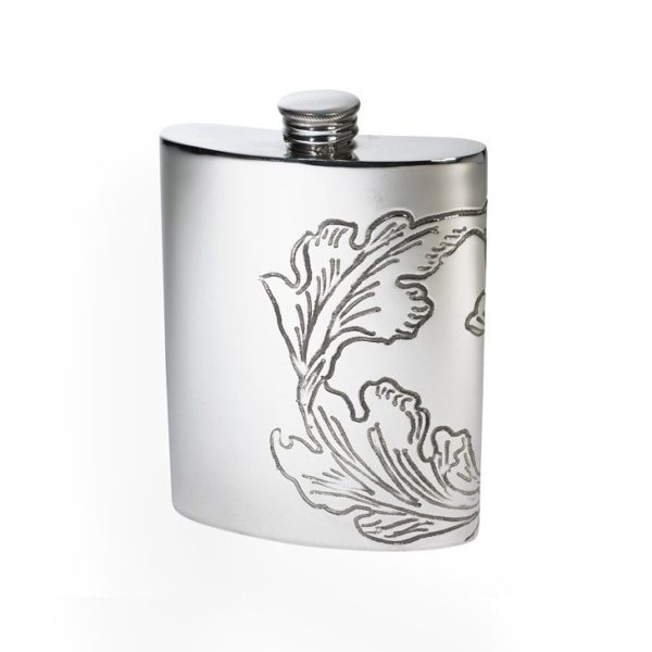 Personalised 6 oz Acanthus Pattern Pewter Kidney Hip Flask