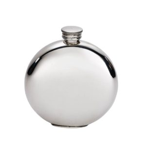 Personalised 6 oz Plain Round Pewter Hip Flask