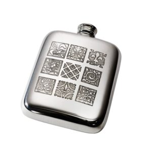Personalised 4 oz Medieval Pewter Kidney Hip Flask