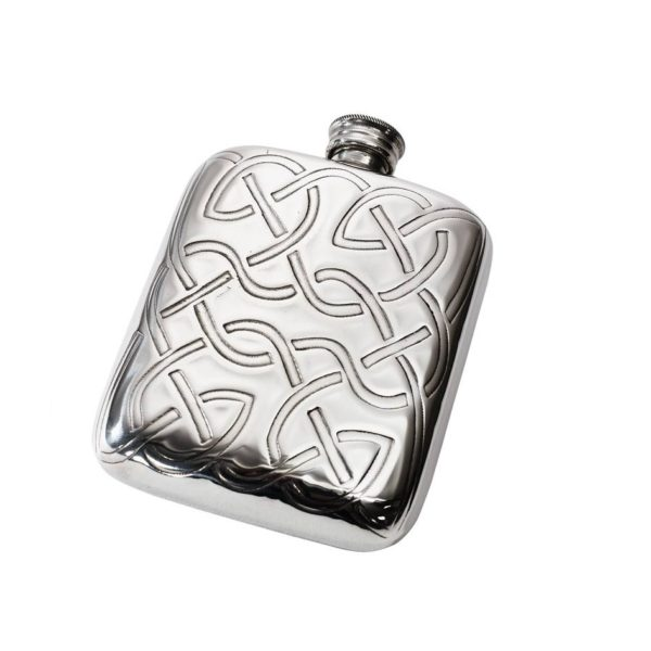 Personalised Celtic Knot 4 oz Pewter Pocket Hip Flask