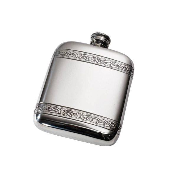 Personalised 4 oz Celtic Bands Pewter Pocket Flask