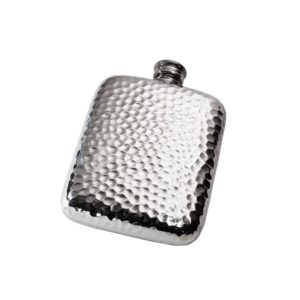 Personalised 6 oz Hammered Pewter Pocket Hip Flask