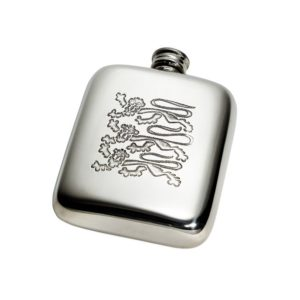 Personalised Three Lions 4 oz Pewter Kidney Hip Flask