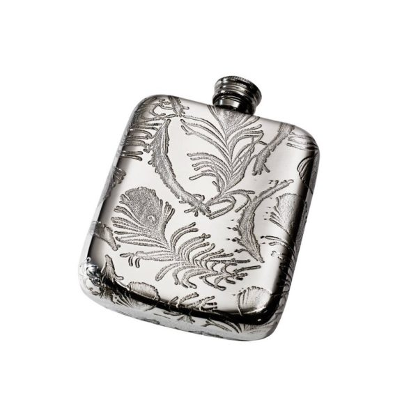Personalised Peacock Pattern 4 oz Pewter Pocket Hip Flask