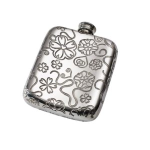 Yorkshire Rose 4 oz Pewter Pocket Hip Flask
