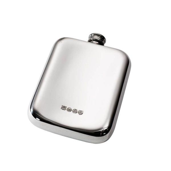 Personalised 6 oz Plain Pewter Pocket Hip Flask