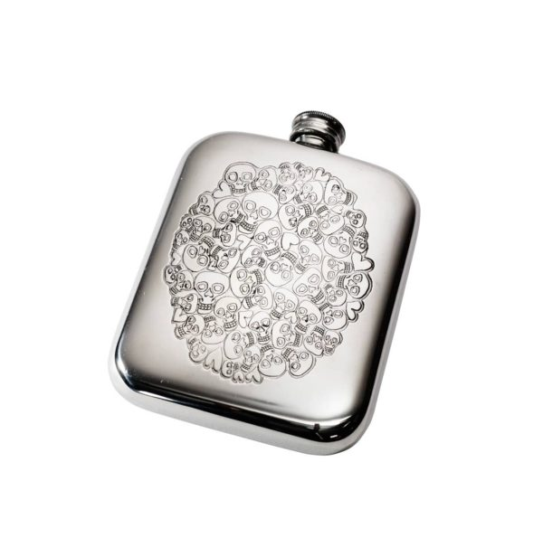 Personalised 6 oz Skull Heart Cluster Pewter Hip Flask