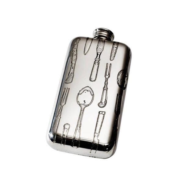 Personalised 3 oz Knife Fork Spoon Pewter Pocket Flask