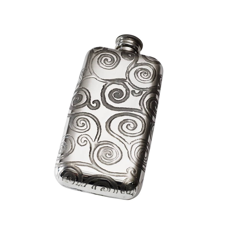 Personalised 3 oz Tree of Life Pewter Pocket Flask