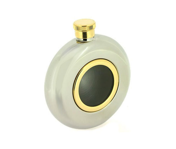 Round Window Engraved Hip Flask with Gold Trim, Presentation Box, FREE FUNNEL & FREE ENGRAVING