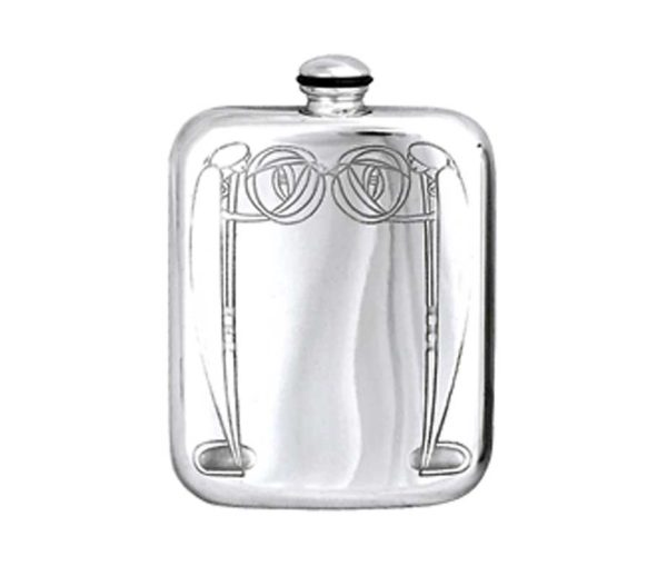Art Deco Engraved Hip Flask with Free Engraving