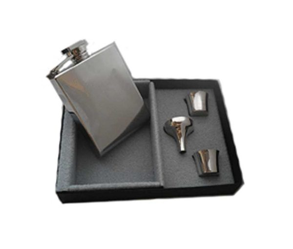 Q-bic Engraved Hip Flask Presentation Set with Free Engraving