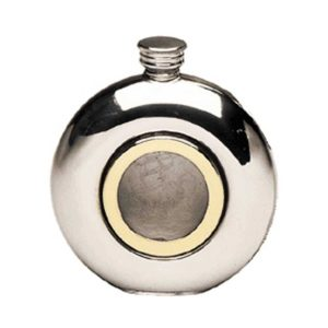 Round Porthole Engraved Hip Flask with Gold Detail and Free Engraving