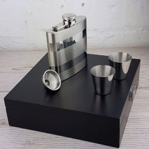 Contrasting Engraved Hip Flask Presentation Set with Free Engraving
