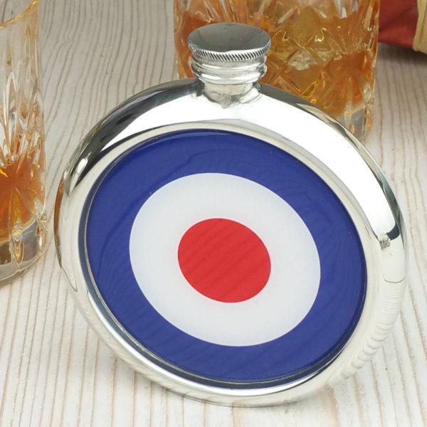 Personalised Mod Hip Flask with Presentation Box and Free Engraving