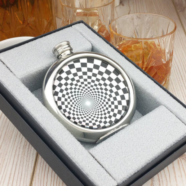 Shimmering Geometric Personalised Hip Flask with Presentation Box and Free Engraving