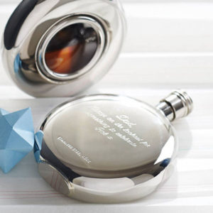 Free Engraving & Personalisation Round Window Hip Flask with Presentation Box & FREE ENGRAVING
