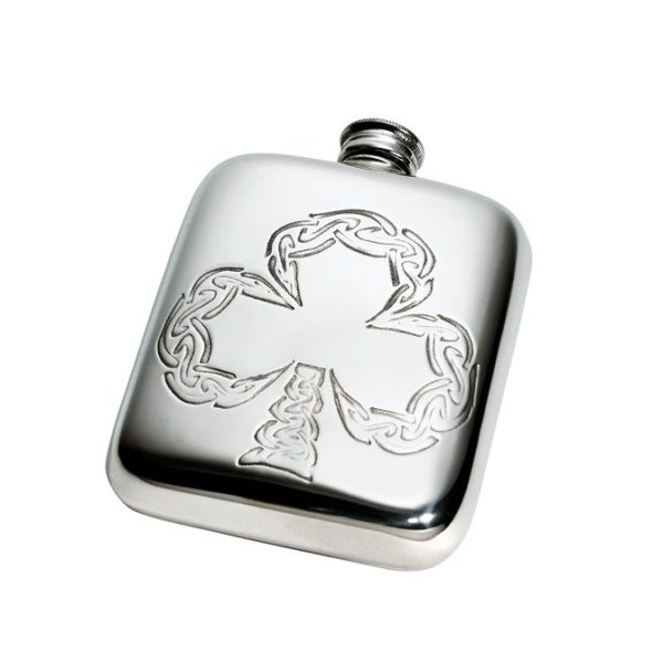 Personalised 4 oz Shamrock Pewter Pocket Hip Flask