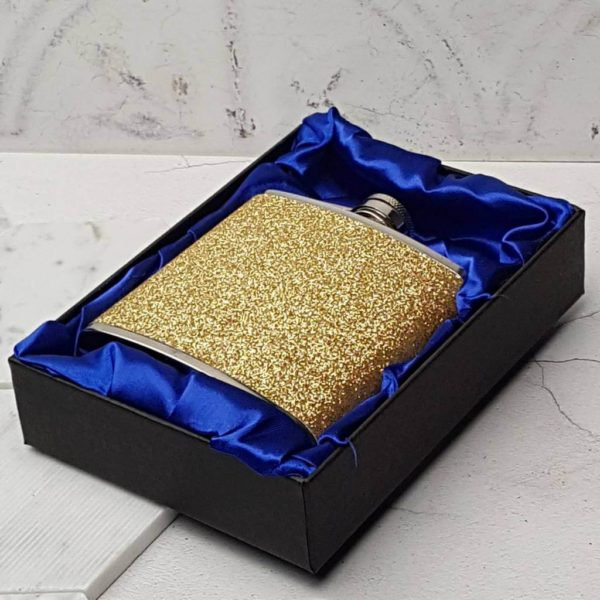 Gold Flashy Hip Flask With Personalised Lid